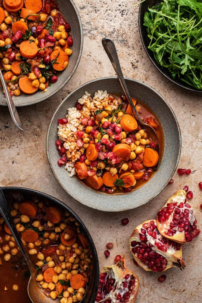 50 Healthy Vegetarian Recipes - Moroccan Spiced Carrot Chickpea Stew   Hurry The Food Up