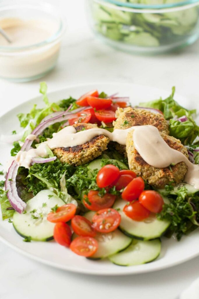 14 Weight Loss Salad Recipes - Falafel Salad with Tahini Dressing | Hurry The Food Up