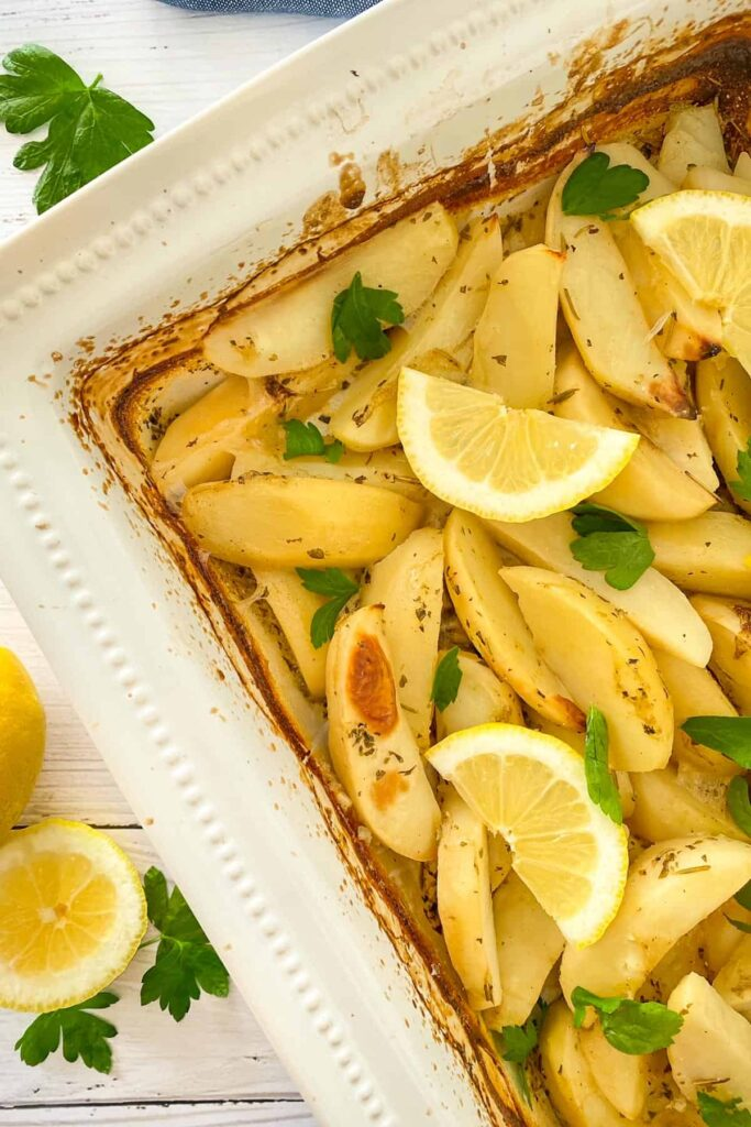 45 Summery Vegetarian Mediterranean Recipes - Greek Lemon Potatoes | Hurry The Food Up