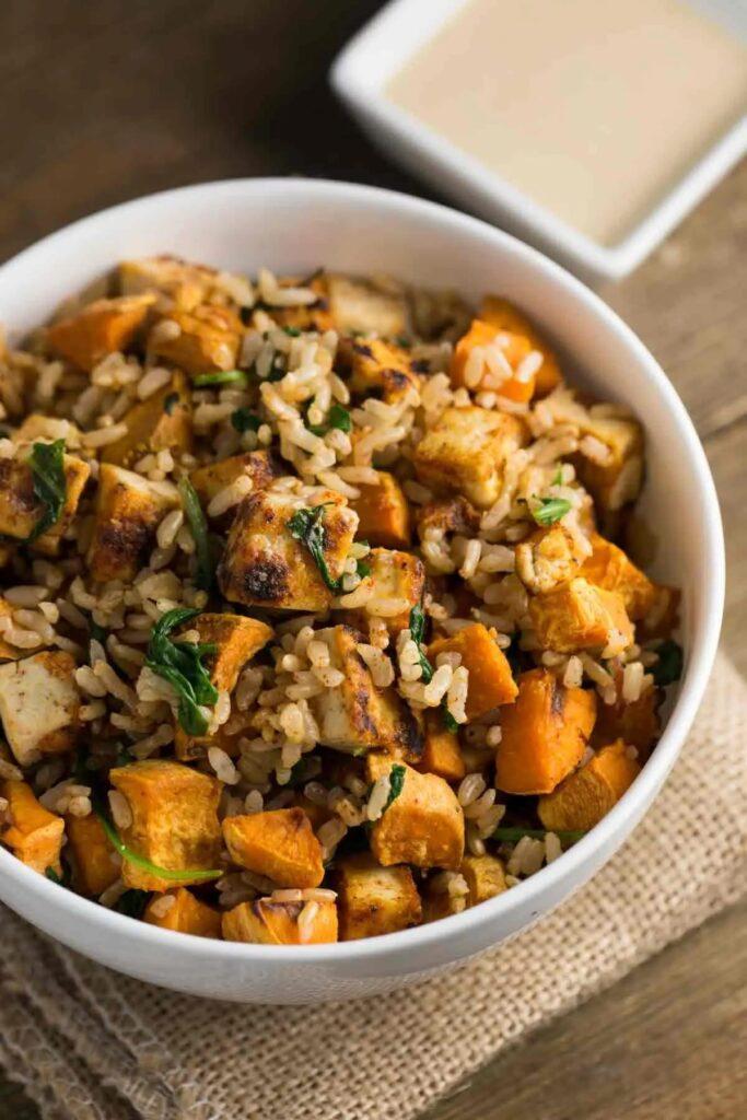 50 Healthy Vegetarian Recipes - Tofu Sweet Potato Bowl with Tahini Sauce   Hurry The Food Up