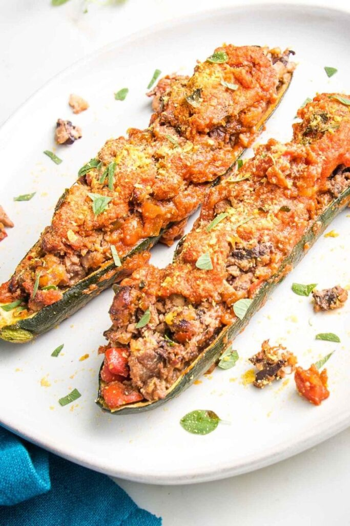 50 Healthy Vegetarian Recipes - Meaty Vegan Stuffed Zucchini Boats   Hurry The Food Up