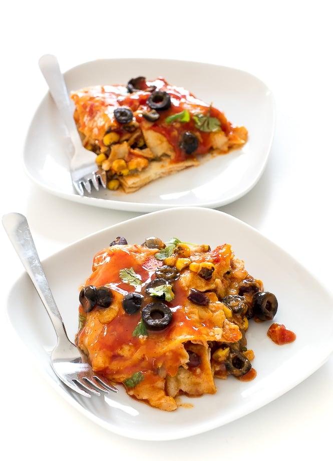 50 Healthy Vegetarian Recipes - Easy Vegetarian Enchilada Casserole   Hurry The Food Up