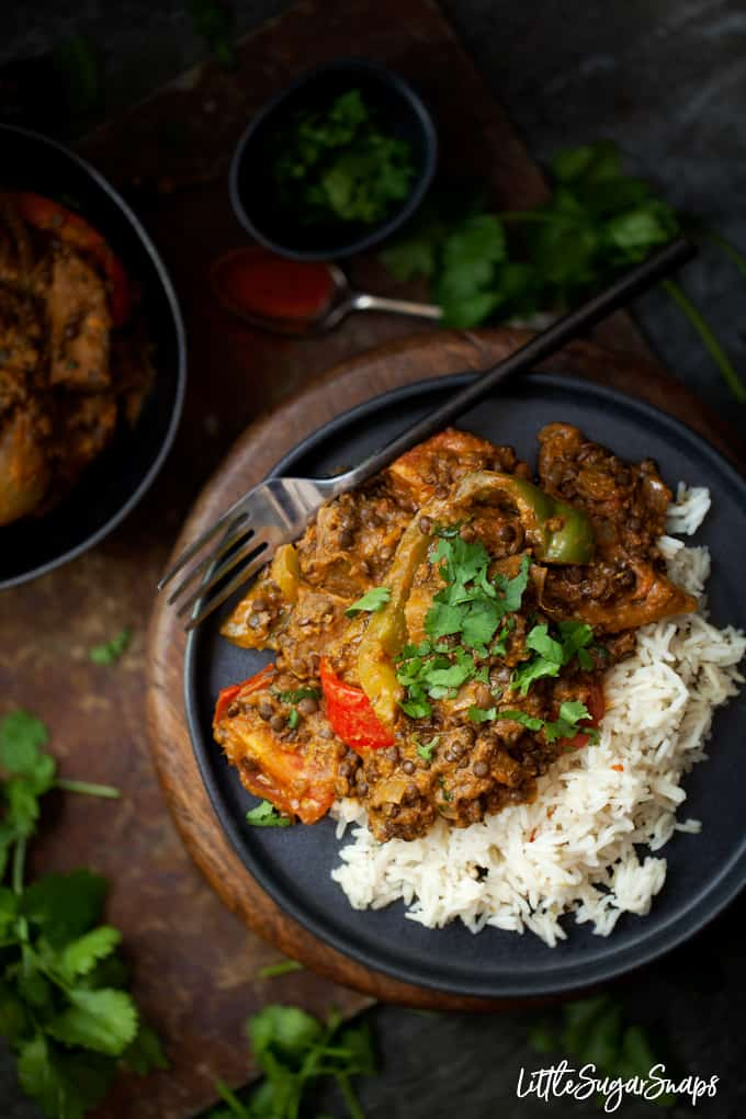 50 Healthy Vegetarian Recipes - Vegetarian Rogan Josh with Black Lentils and Aubergine   Hurry The Food Up
