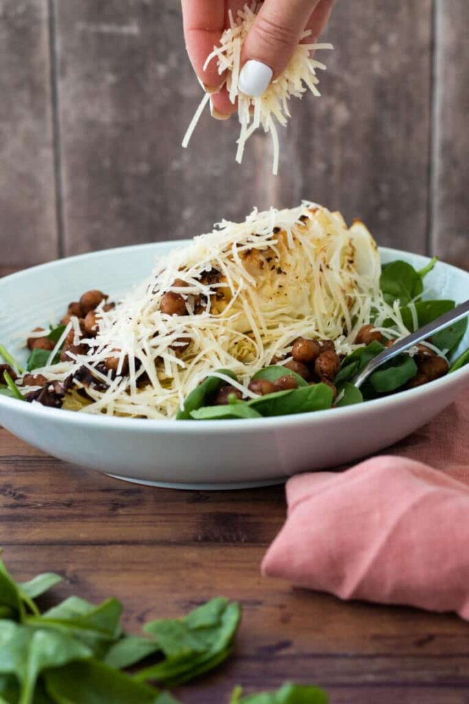 14 Weight Loss Salad Recipes - Sweetheart Cabbage Salad with Gyoza Chickpeas and Parmesan | Hurry The Food Up