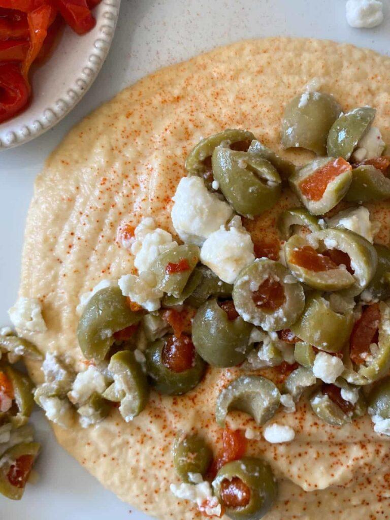 45 Summery Vegetarian Mediterranean Recipes - Lemon Garlic Hummus | Hurry The Food Up