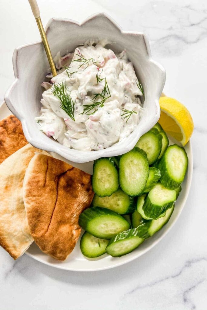45 Summery Vegetarian Mediterranean Recipes - Radish Tzatziki | Hurry The Food Up
