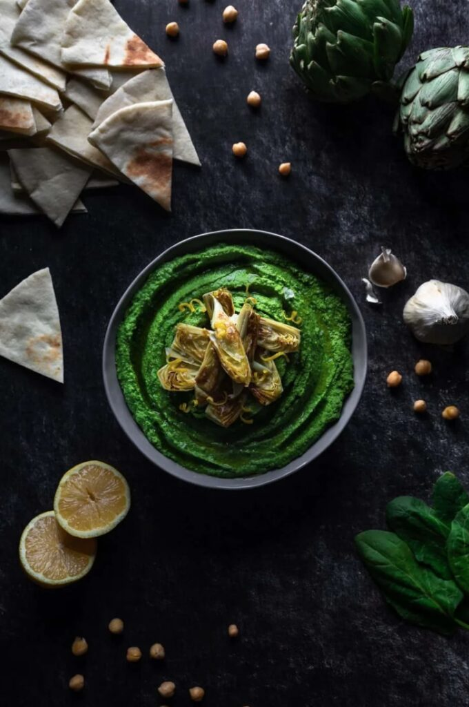 45 Summery Vegetarian Mediterranean Recipes - Spinach Hummus with Lemon Artichokes | Hurry The Food Up