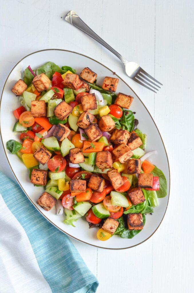 50 Healthy Vegetarian Recipes - Tofu Panzanella Salad   Hurry The Food Up