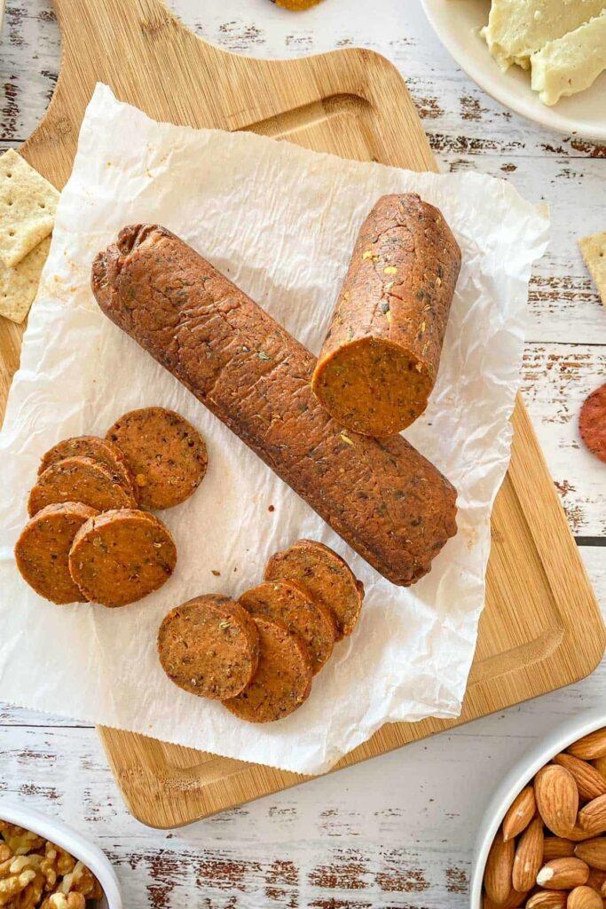 7 Low Carb High Protein Vegan Recipes - Vegan Salami | Hurry The Food Up