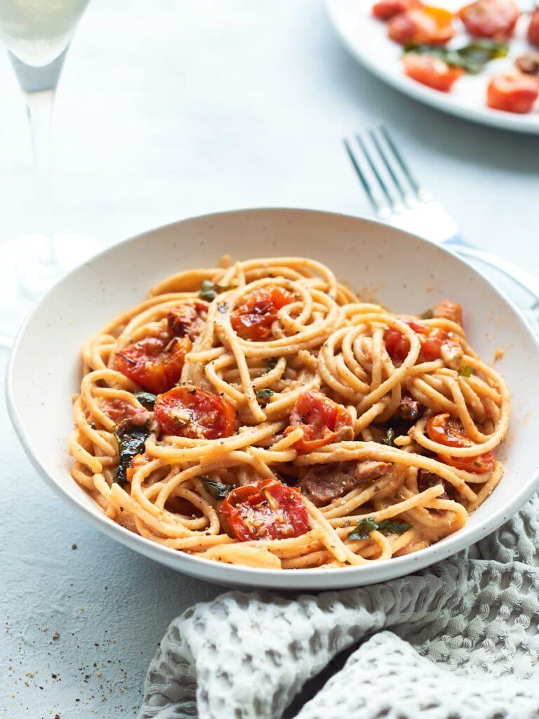 45 Vibrant Vegan Mediterranean Recipes - Spaghetti Carbonara with Tomato Bacon  Hurry The Food Up
