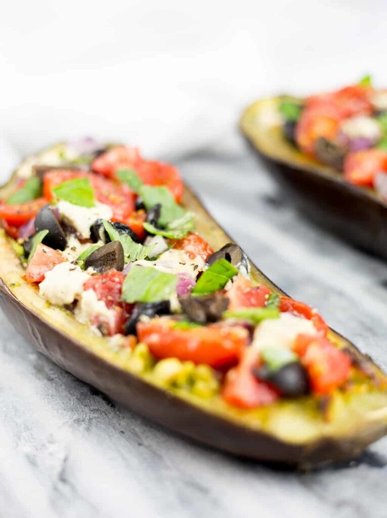 45 Vibrant Vegan Mediterranean Recipes - Eggplant Bruschetta   Hurry The Food Up