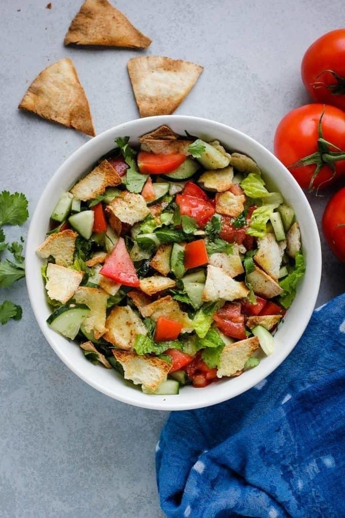 45 Vibrant Vegan Mediterranean Recipes - Fattoush Salad   Hurry The Food Up