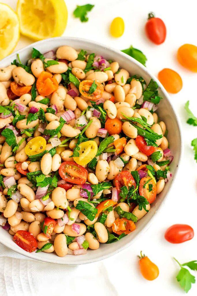 45 Vibrant Vegan Mediterranean Recipes - Greek White Bean Salad   Hurry The Food Up