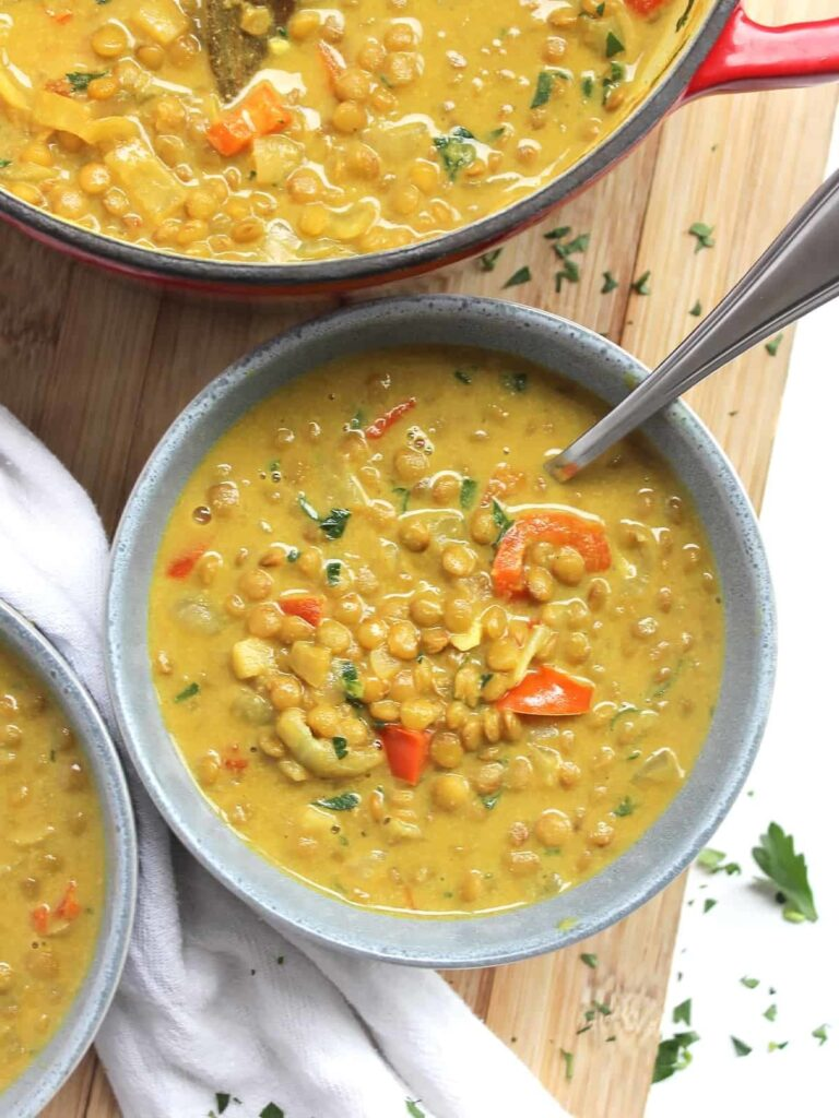 17 Healthy Vegetarian Soup Recipes for Weight Loss - Lentil Turmeric Soup   Hurry The Food Up