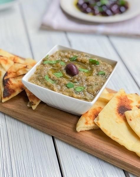 45 Vibrant Vegan Mediterranean Recipes - Melitzanosalata (Aubergine dip)   Hurry The Food Up