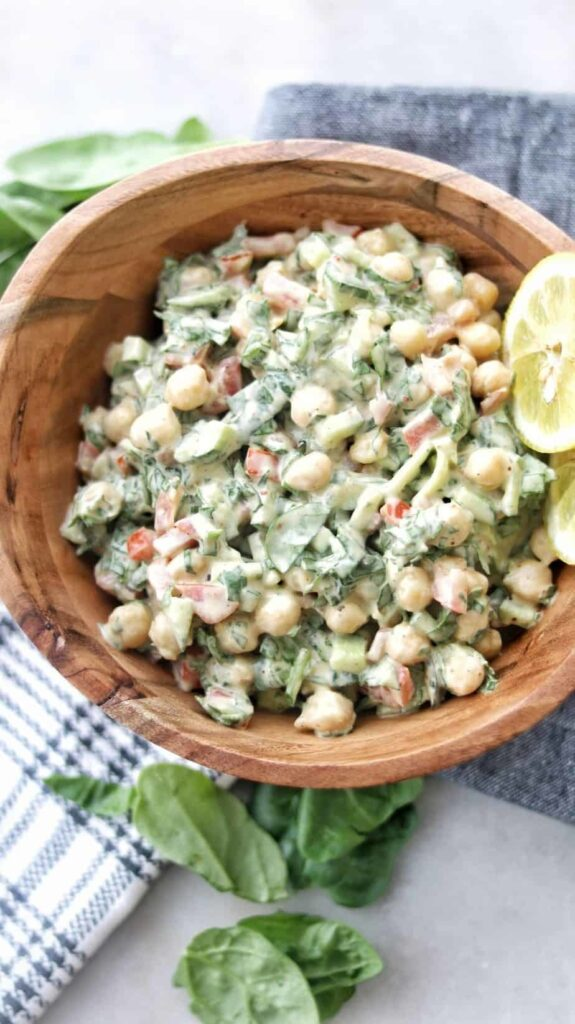 45 Vibrant Vegan Mediterranean Recipes - Tahini Chickpea Salad   Hurry The Food Up