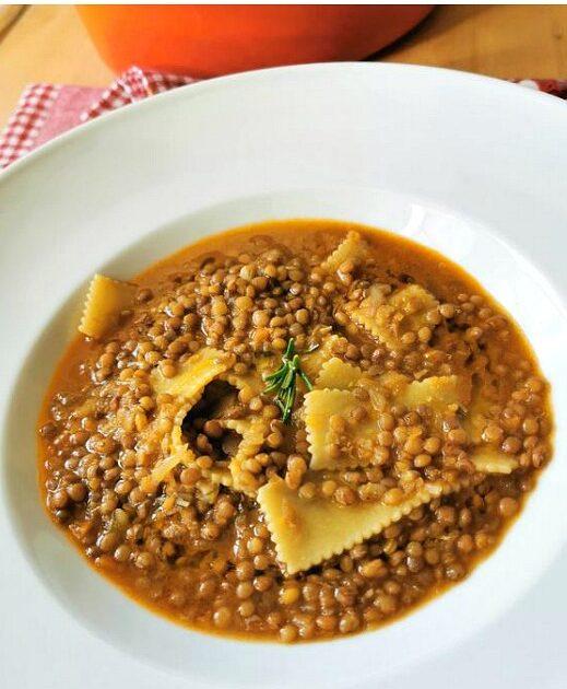 45 Vibrant Vegan Mediterranean Recipes - Umbrian Lentil Soup with Pasta  Hurry The Food Up