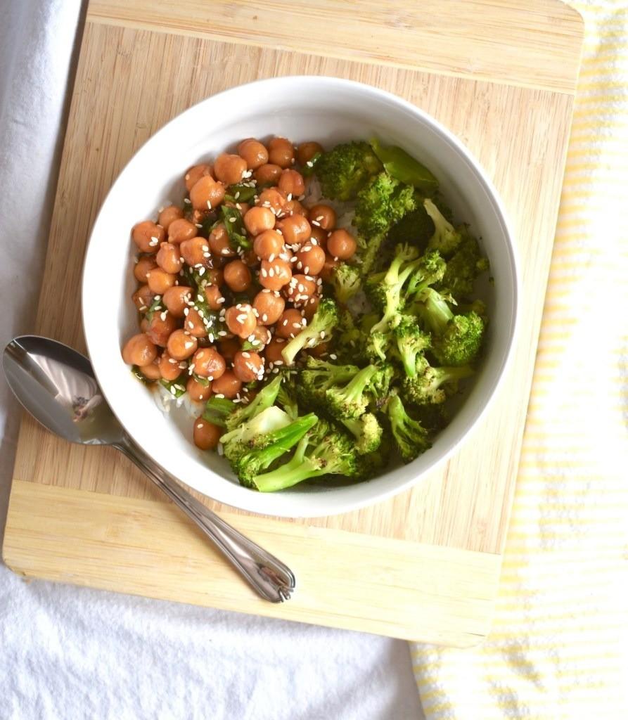 40 Vegetarian Low Calorie Meals - Vegan Teriyaki Chickpea Bowl | Hurry The Food Up