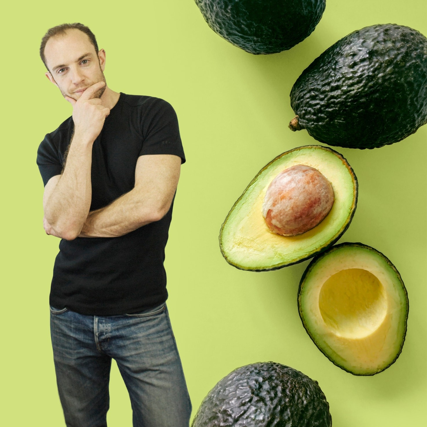 Dave is standing near the avocados on the green background | Hurry The Food Up