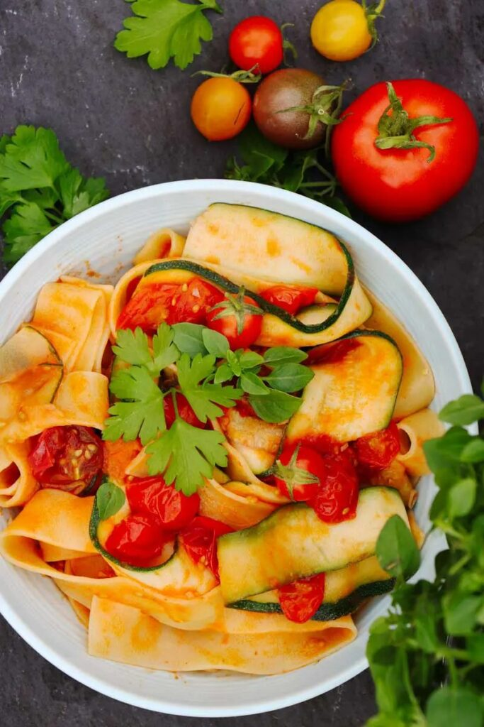 25 Vegan Zucchini Recipes - Summer Courgette & Tomato Pasta | Hurry The Food Up