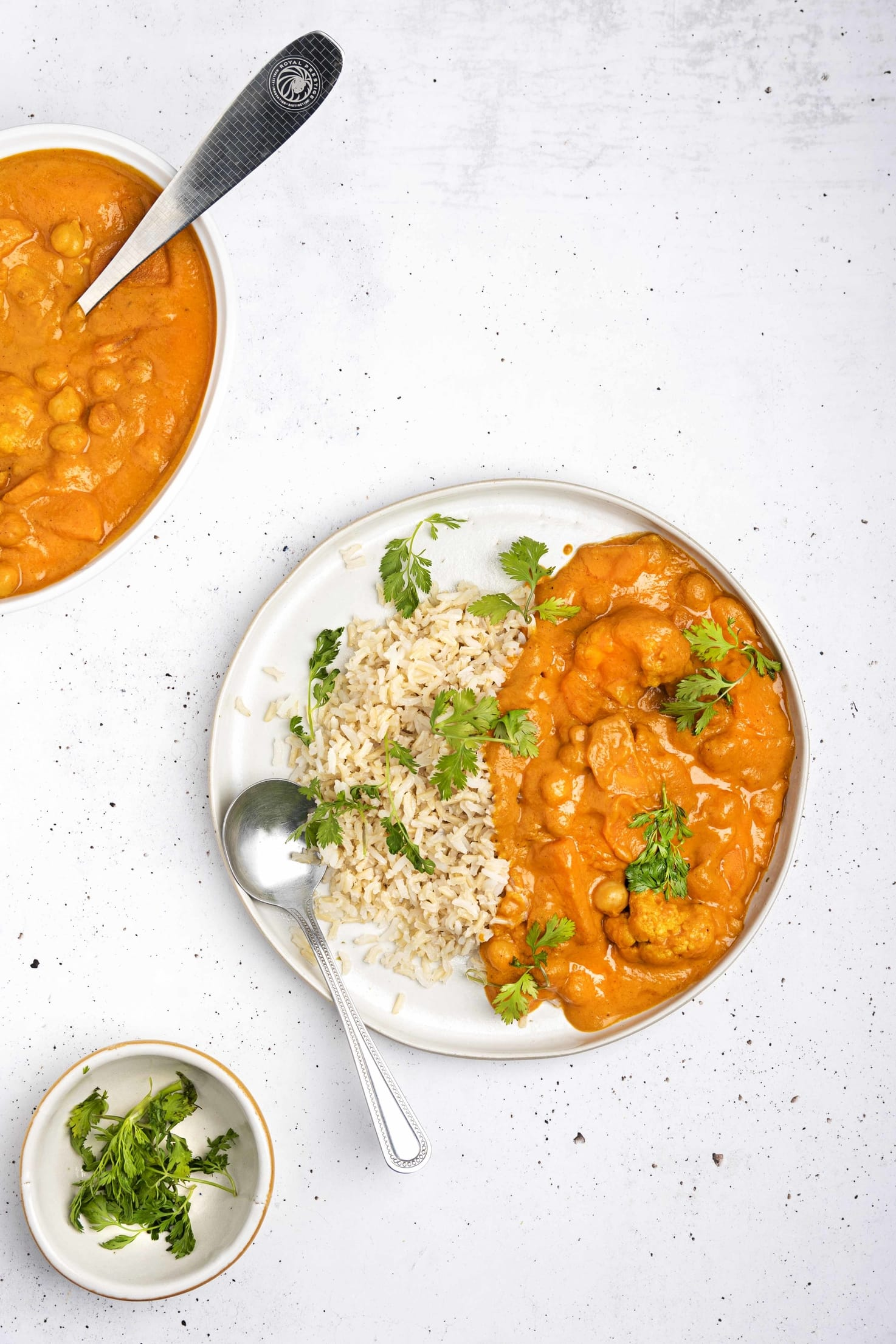 A plate of vegan tikka masala with a spoon, served with brown rice and garnished with parsley. There is a small bowl of chopped parsley in the bottom left hand corner and another bowl of tikka masala in the top left hand corner, with a serving spoon submerged in it   Hurry The Food Up