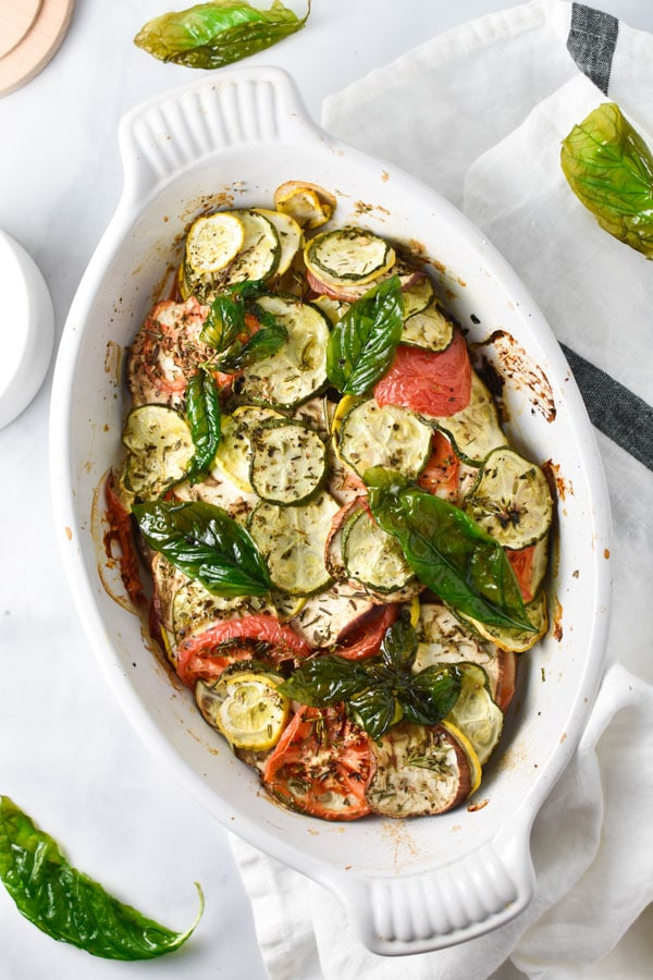 25 Vegan Zucchini Recipes -Vegetable Tian with Crispy Basil | Hurry The Food Up