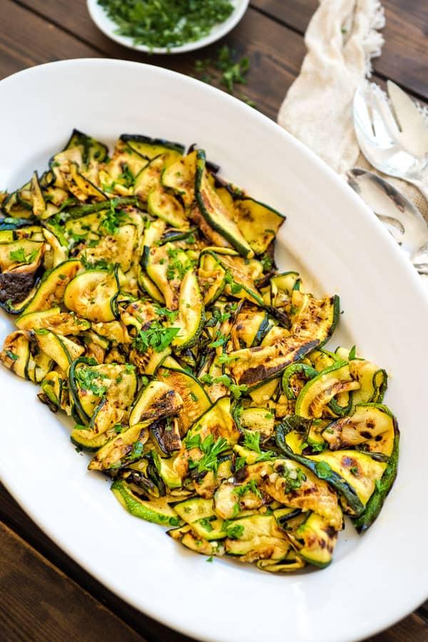 25 Vegan Zucchini Recipes - Roasted Zucchini Salad| Hurry The Food Up