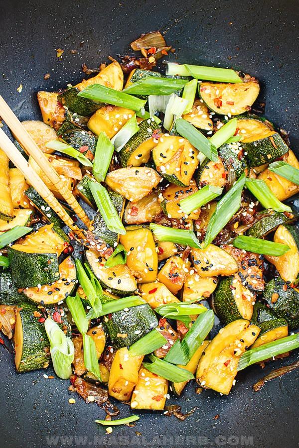 25 Vegan Zucchini Recipes - Zesty Zucchini Stir Fry Recipe | Hurry The Food Up
