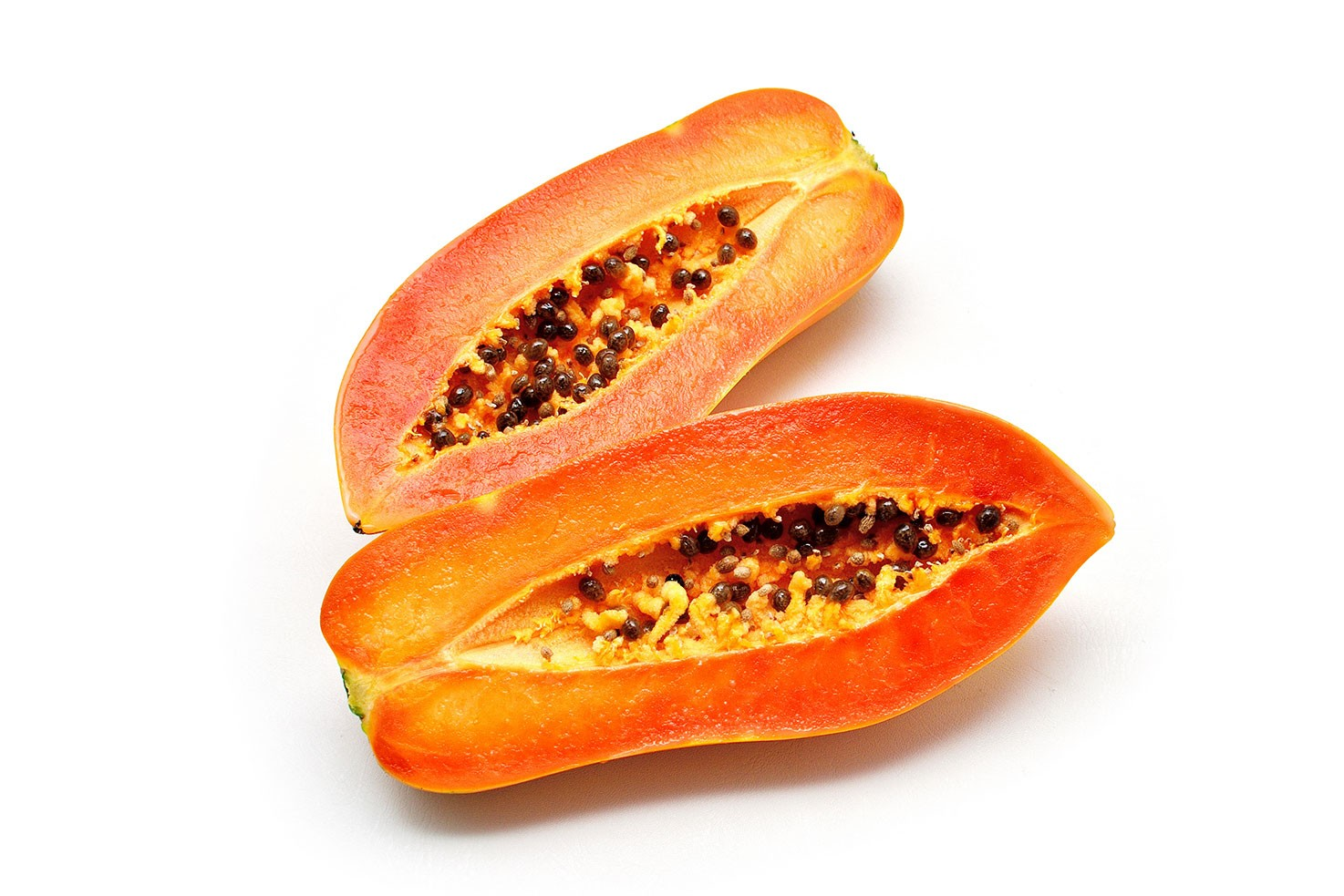 Two papaya halves on the white background | Hurry The Food Up