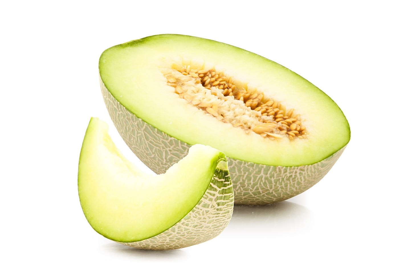Half of a melon and one slice on a white background | Hurry The Food Up
