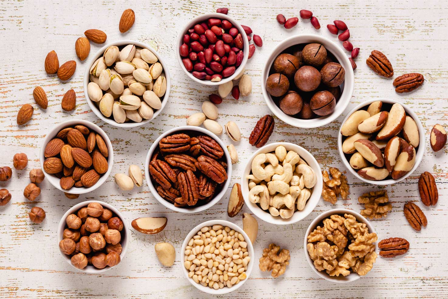 Various nuts in bowls | Hurry The Food Up