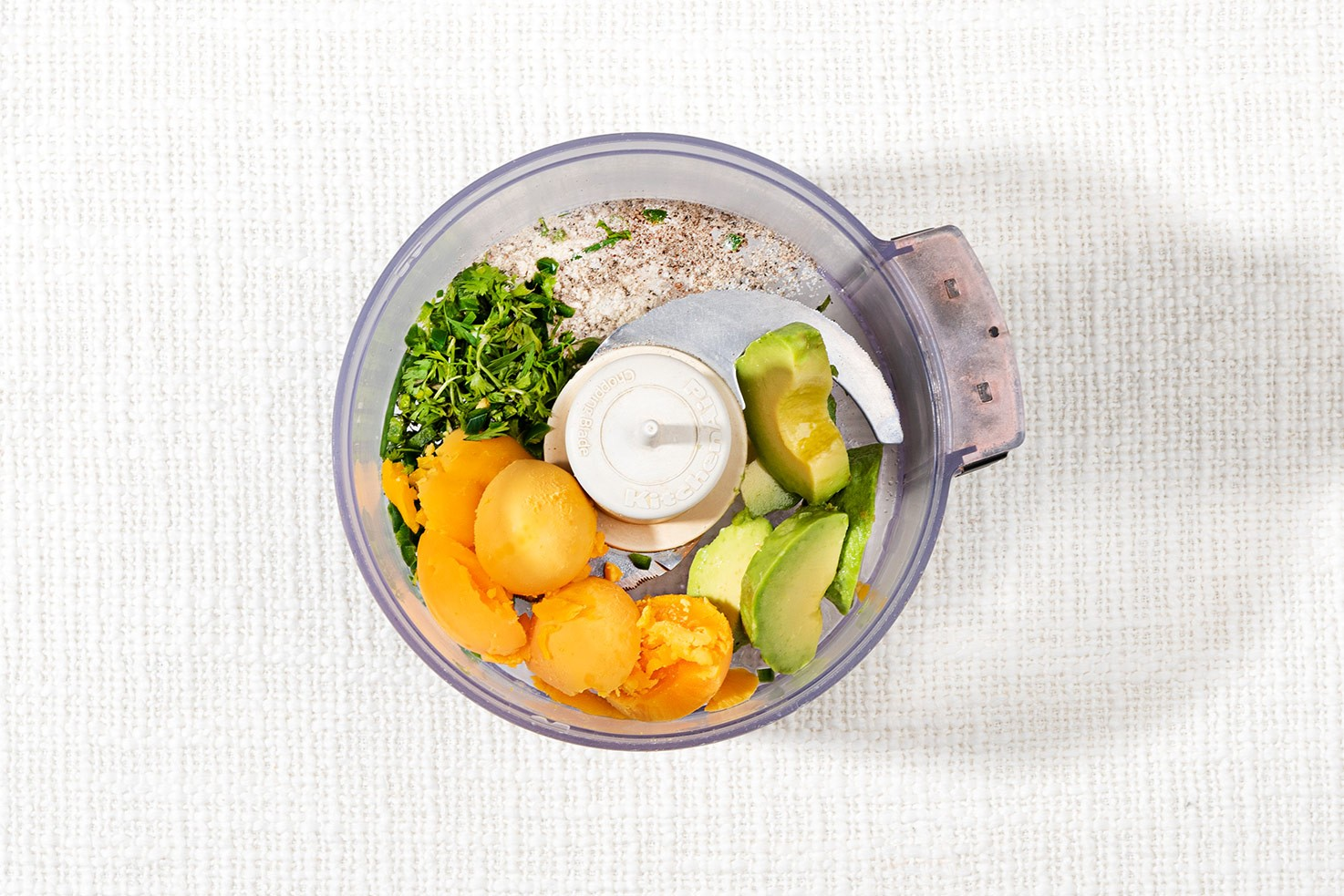 The recipe ingredients are in the food processor | Hurry The Food Up